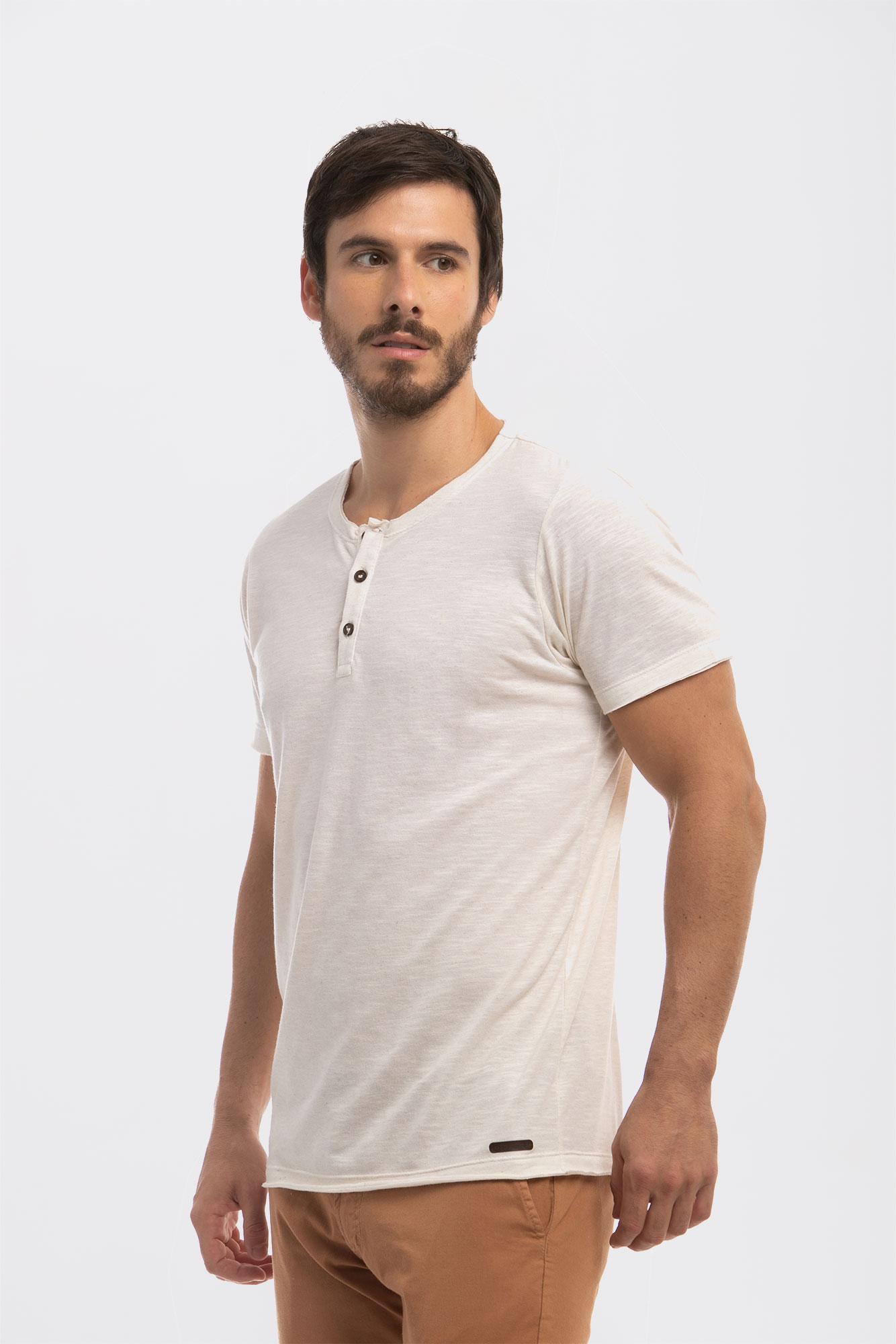 Camiseta Henley Flamê Natural