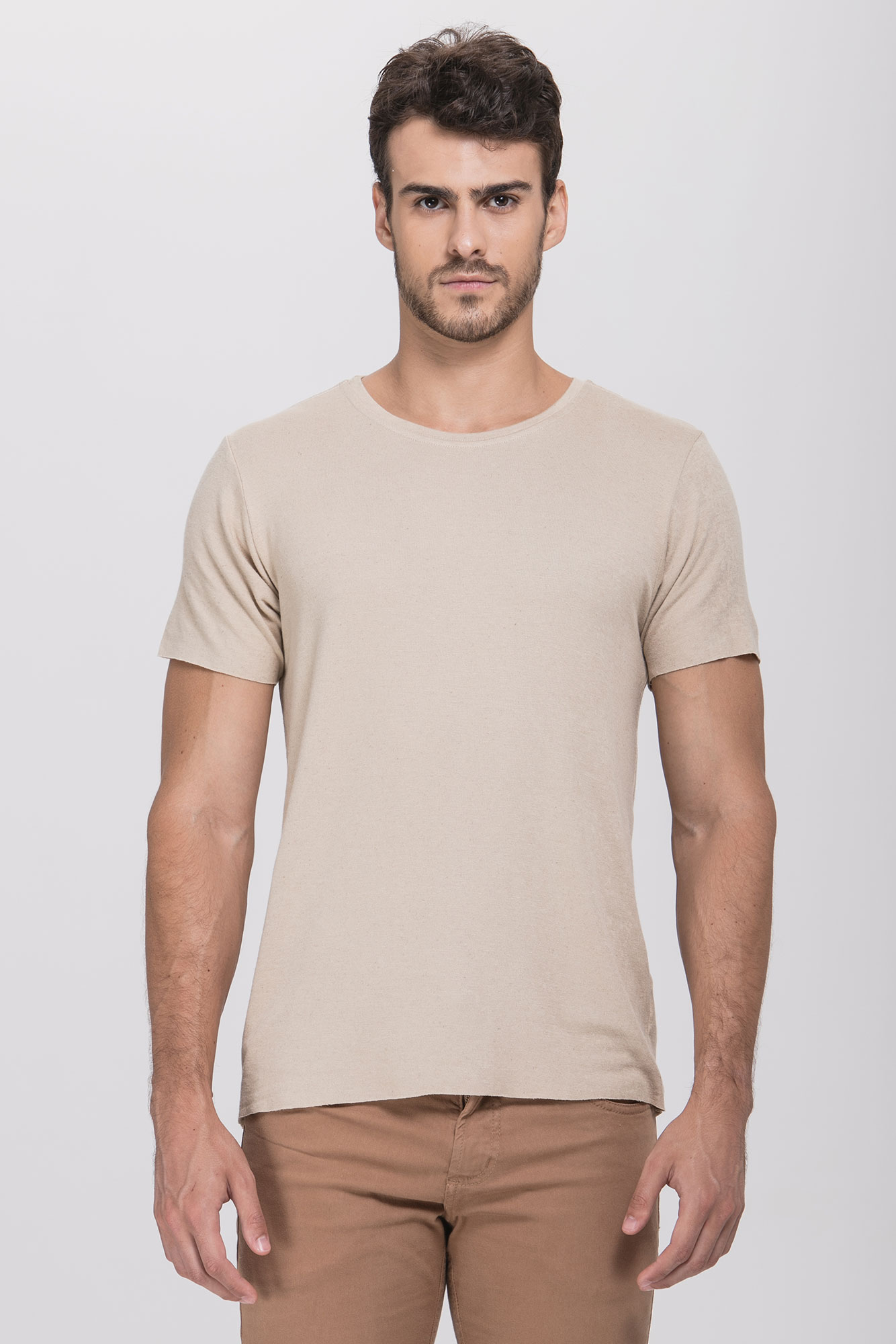 Camiseta Lino Natural Bege