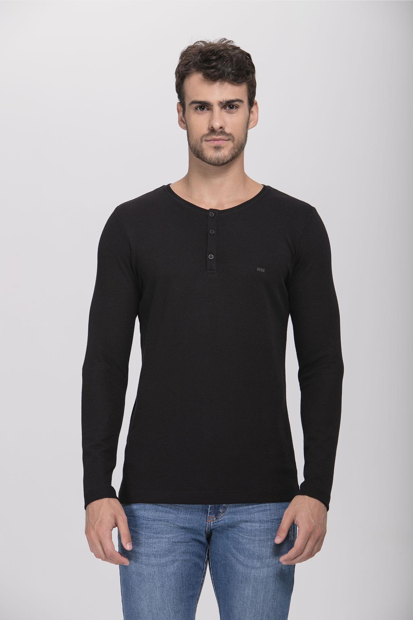 Camiseta ML Henley Preta