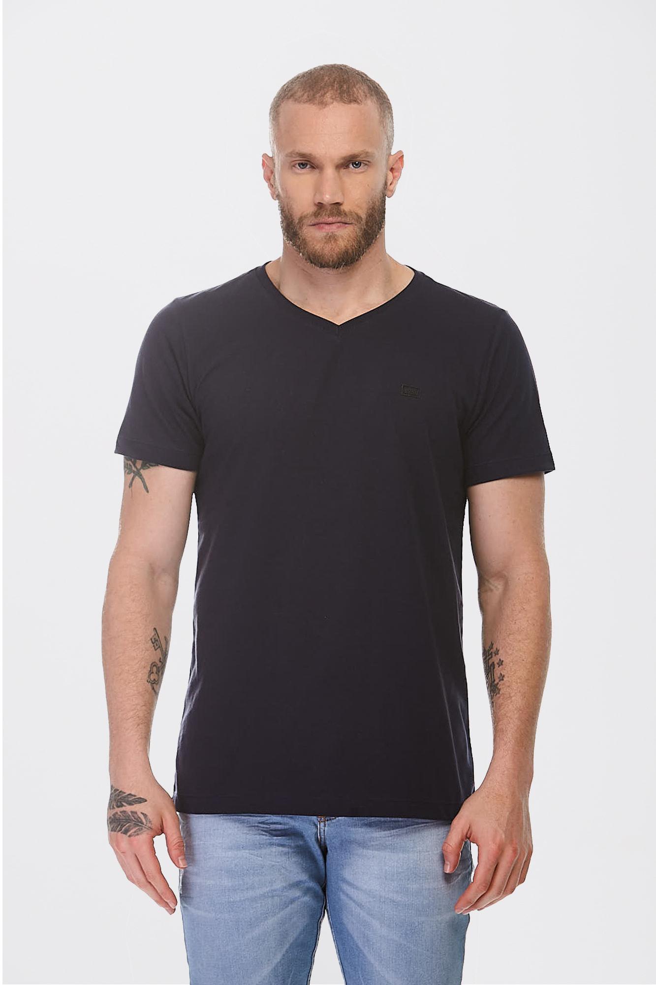 Camiseta Simple V Azul Marinho