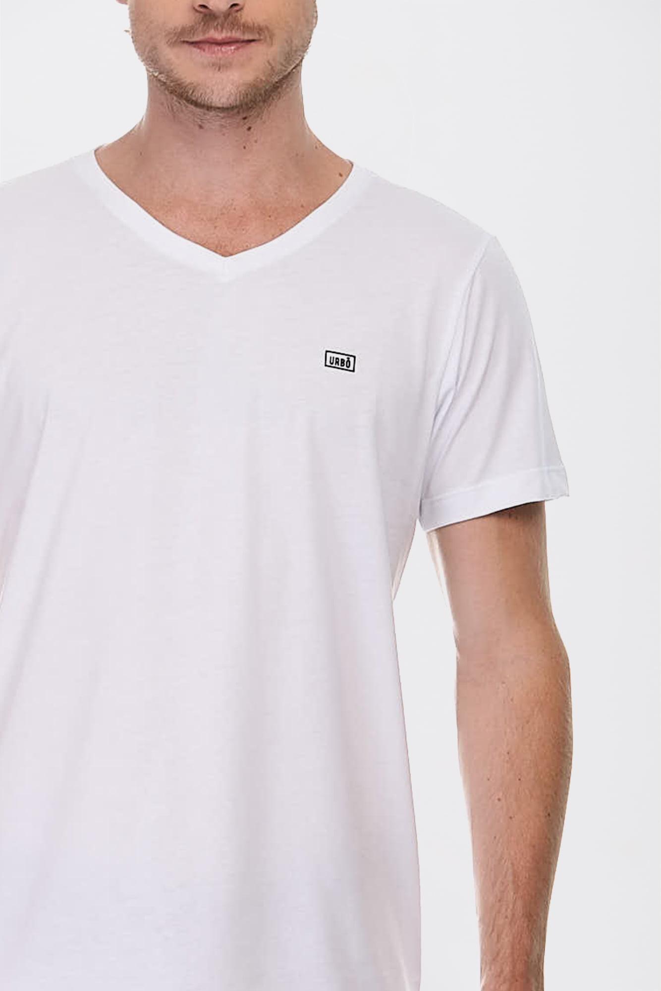 Camiseta Simple V Branca