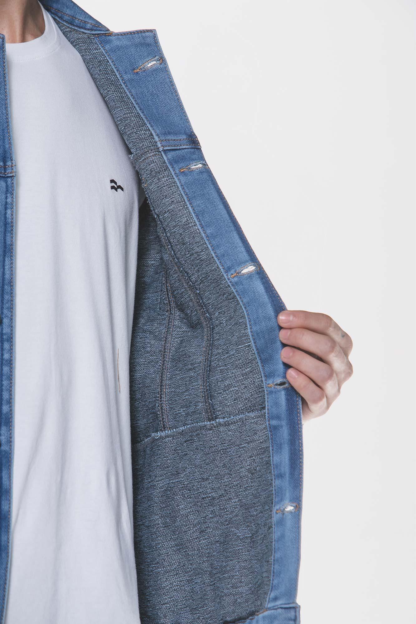 Jaqueta Jeans Moletom Azul