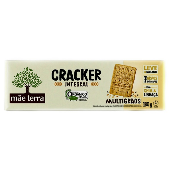Biscoito Cracker Organico e Integral Multigrãos Tribos 130g - Mãe Terra