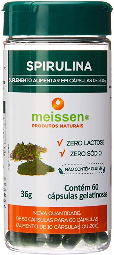 Spirulina Natural com 60 capsulas vegetais 36g - Meissen
