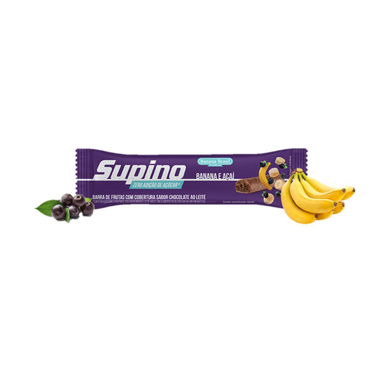 Supino Barra Sabor Açai Zero Açúcar cx com 16 x 24g - Banana Brasil