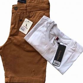 kit Bermuda Brim e Camiseta Básica Masculino Kactoos
