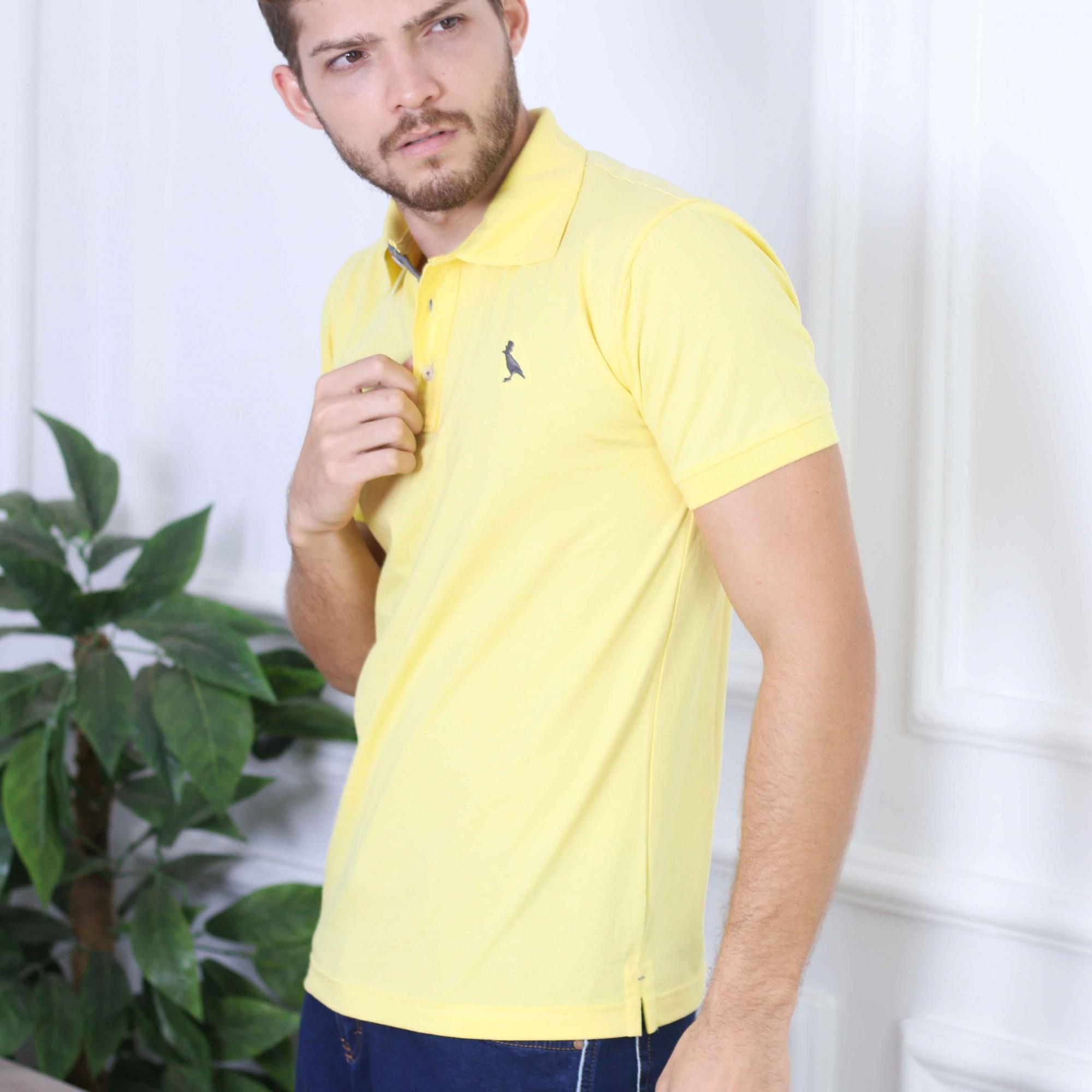 Camisa Polo Básica Amarelo  - Kactoos