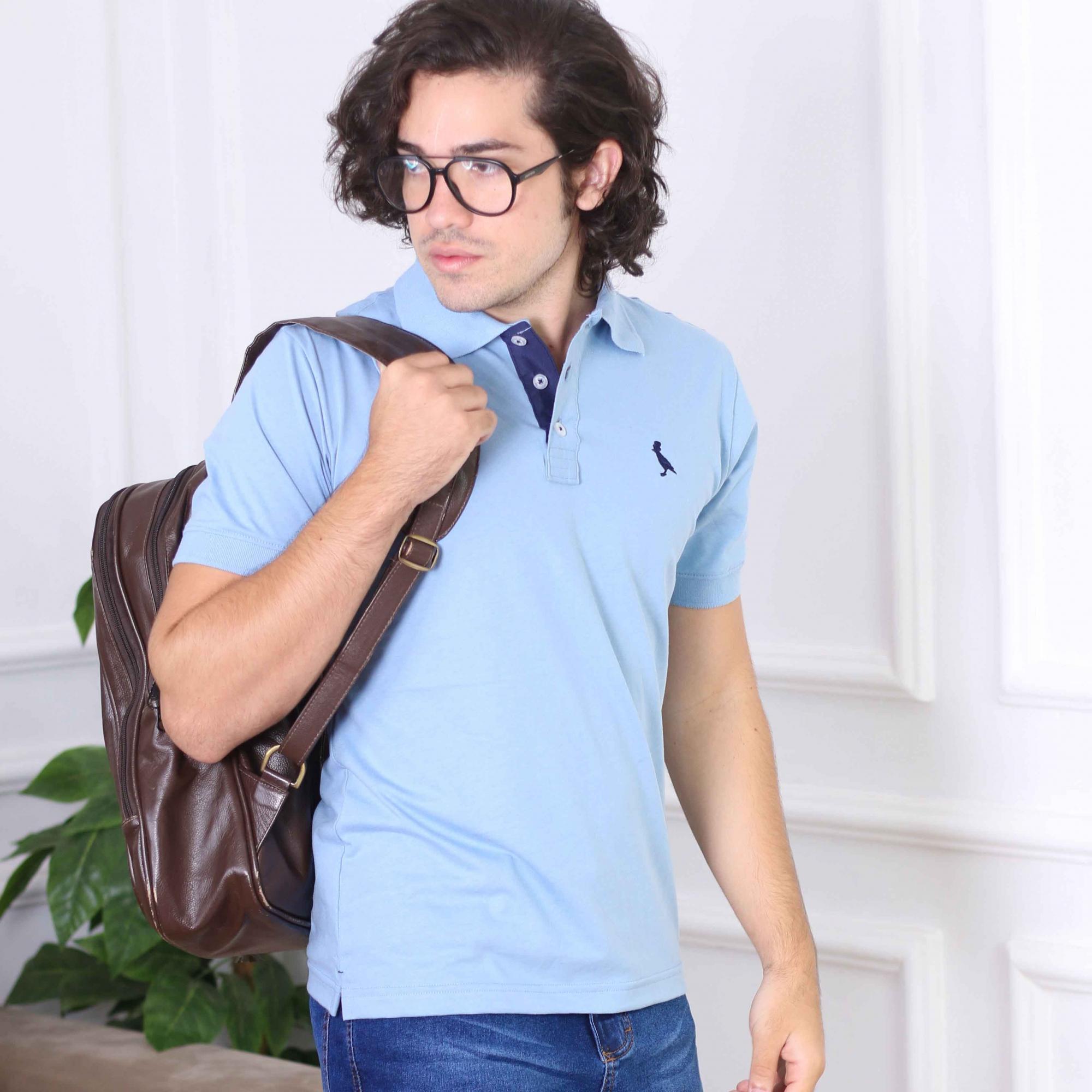 Camisa Polo Básica  Azul Claro  - Kactoos
