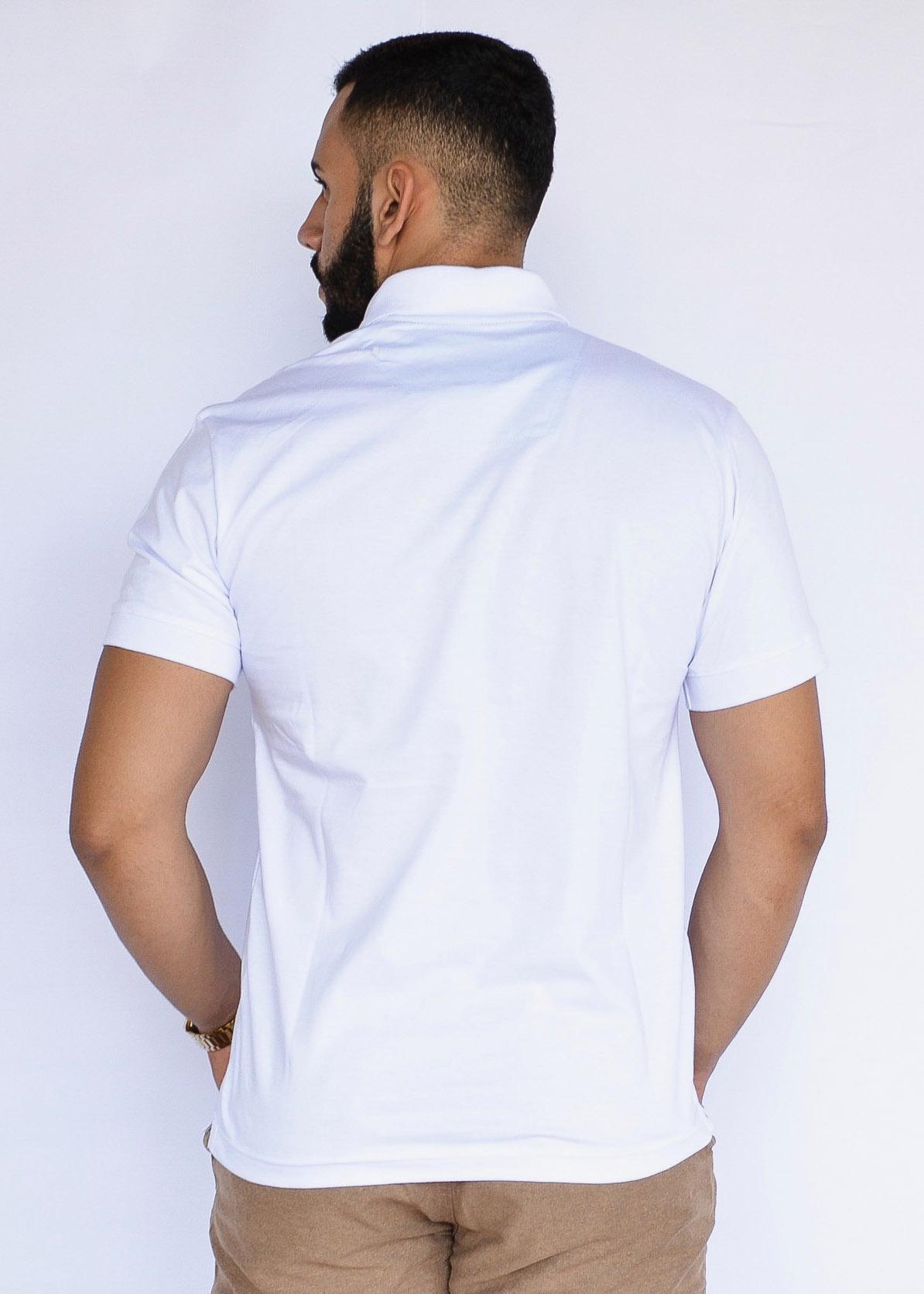Camisa Polo Básica  Branco  - Kactoos