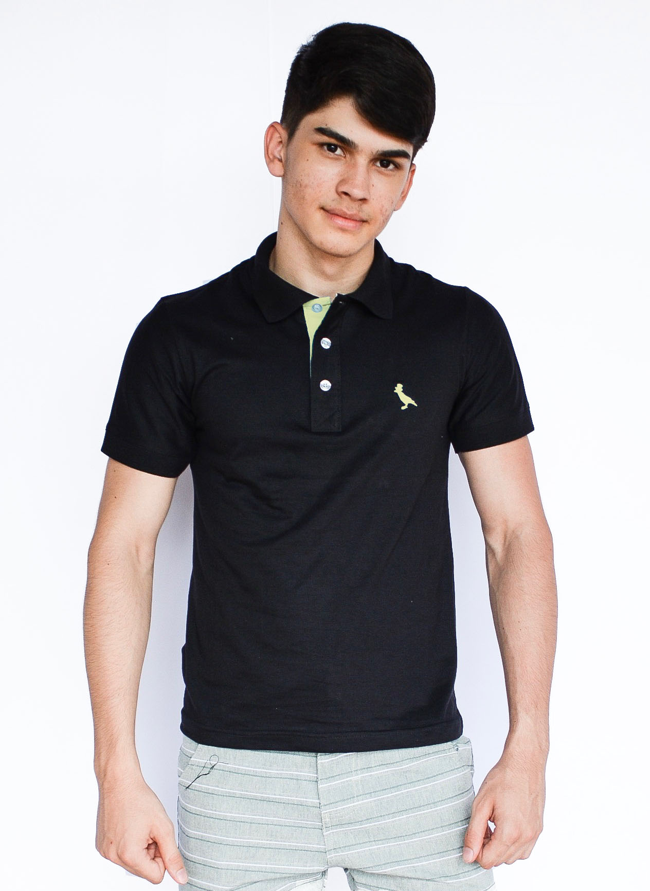 Camisa Polo Básica Preto  - Kactoos
