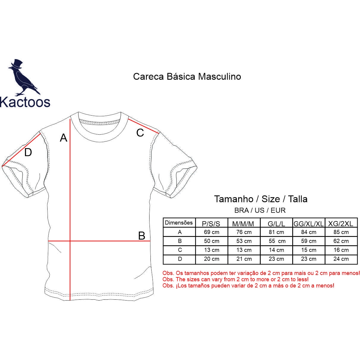 Camiseta Básica  marinho  - Kactoos