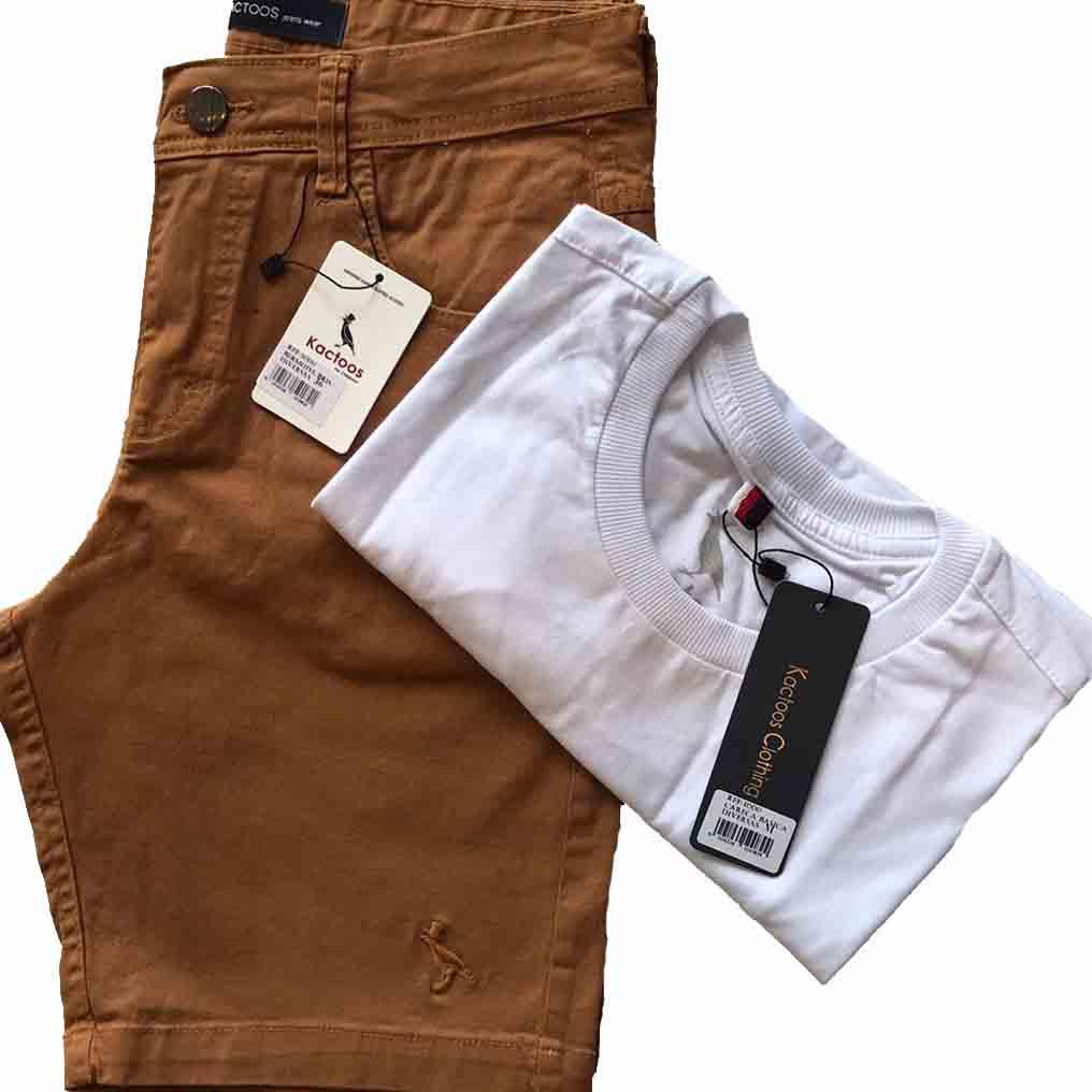 kit Bermuda Brim e Camiseta Básica Masculino Kactoos   - Kactoos