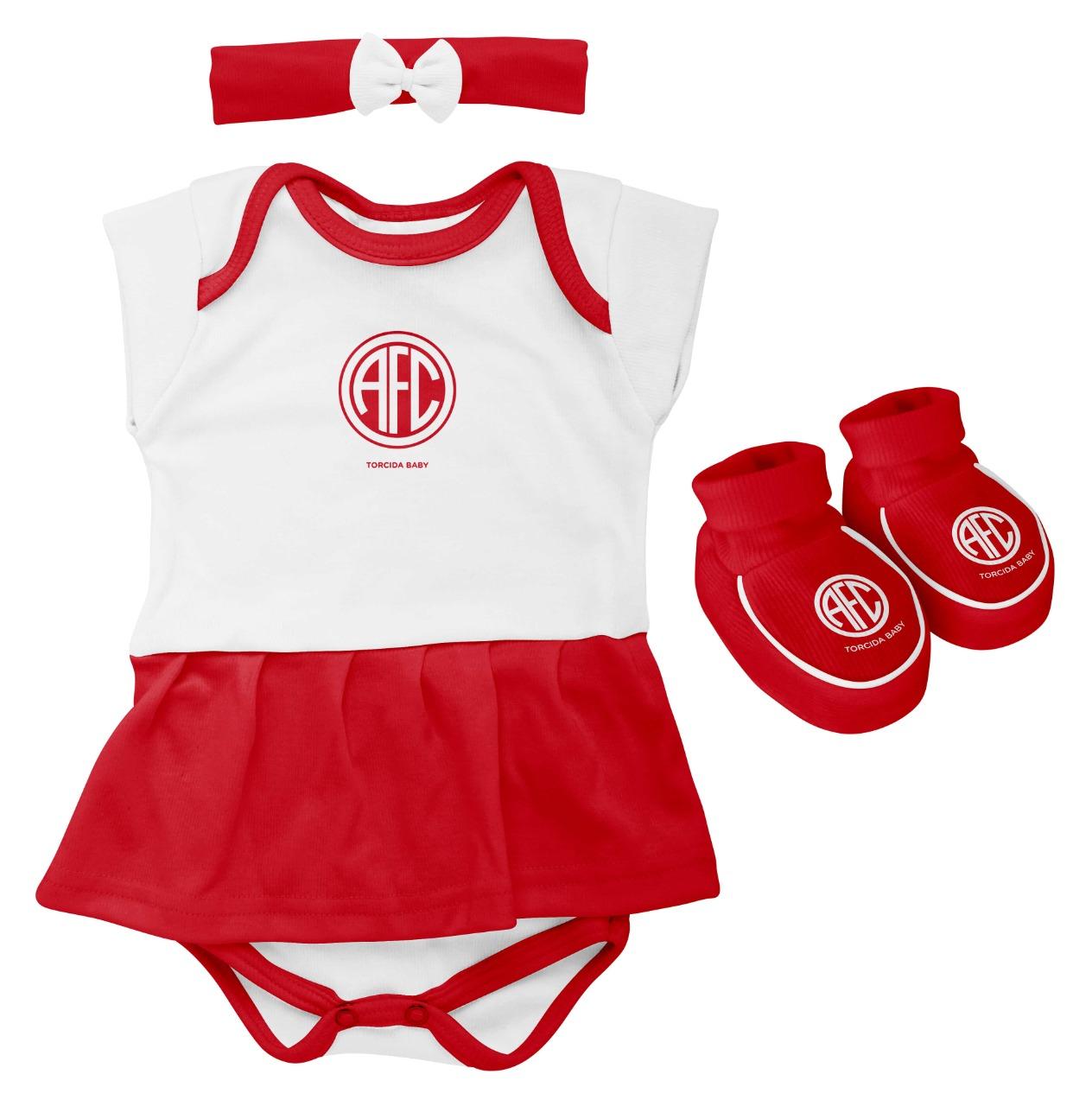 Kit Américas 3 Peças Body Vestido+ Lacinho+ Pantufa