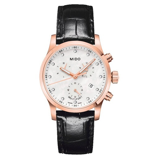RELÓGIO MIDO MULTIFORT MOTHER OF PEARL DIAL BLACK LEATHER M0052173611620