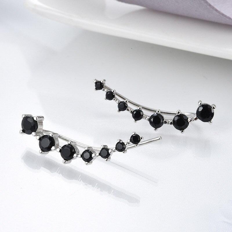 Brincos Ear Cuff Fascínio em Prata Esterlina 925 com Espinélios Negros