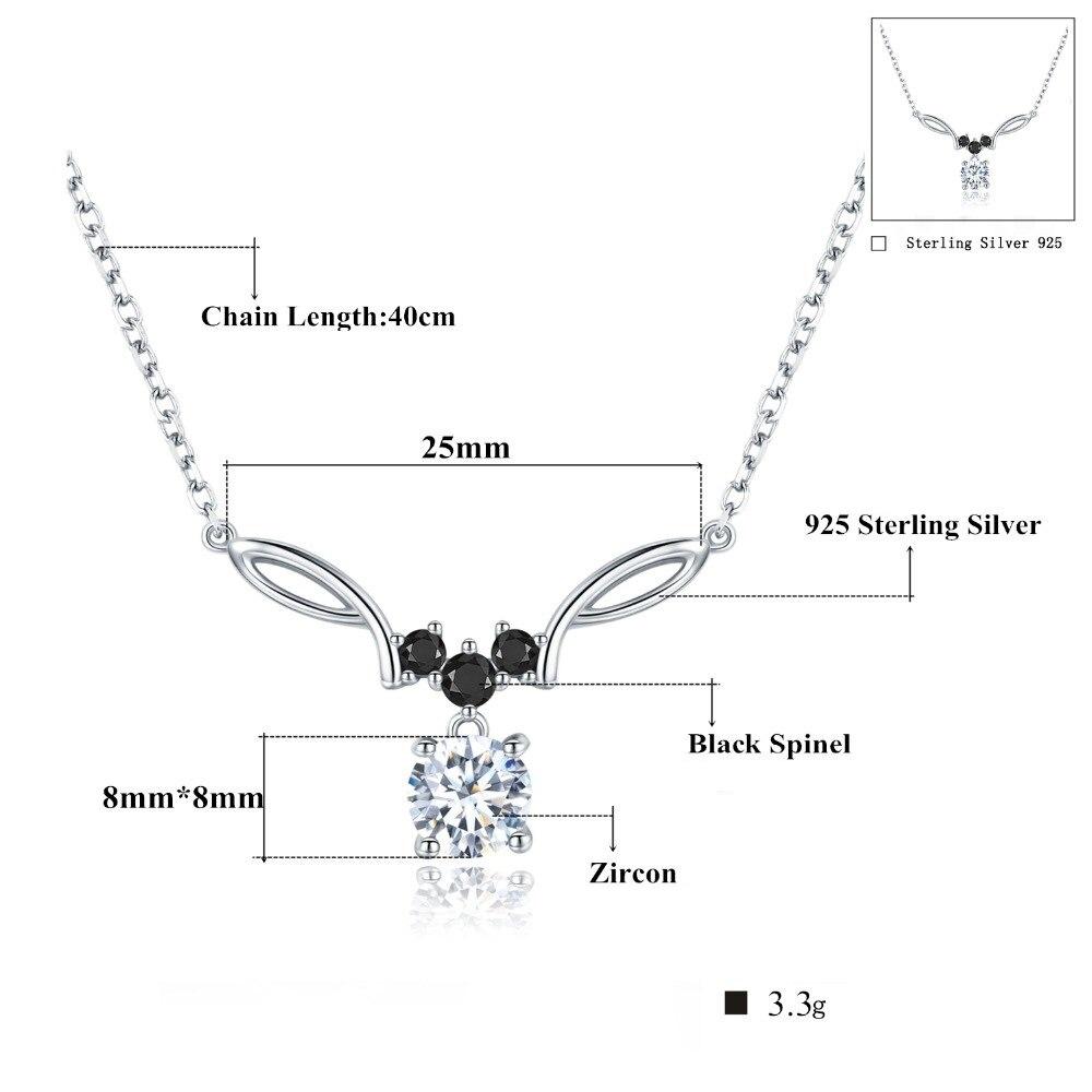 Colar e Pingente Atração em Prata Esterlina 925 com Espinélios Negros