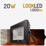 REFLETOR LED 20W 3000K PRETO SPOTLUX