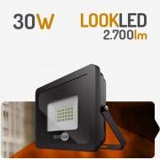 REFLETOR LED 30W 3000K PRETO SPOTLUX
