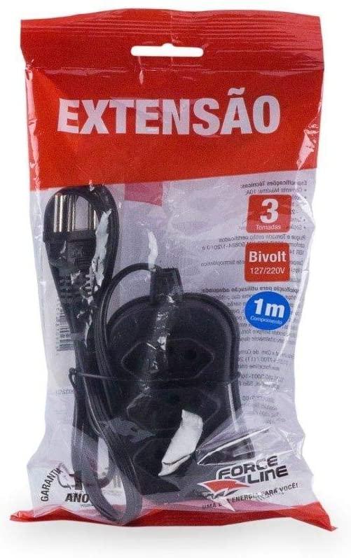 EXTENSAO 3 TOMADAS 1MT PL 3P PRETA FORCE LINE