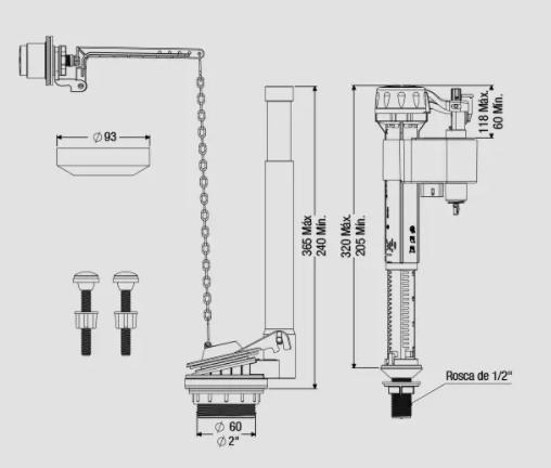 MECANISMO COMPLETO CX. ACOPLADA LATERAL DUAL FLUSH  (9565) CENSI
