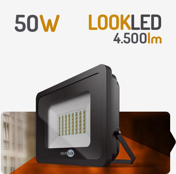 REFLETOR LED 50W 3000K PRETO SPOTLUX