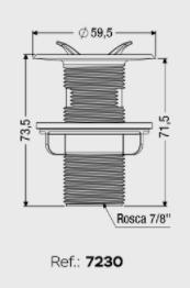 VALVULA PIA/LAVATORIO ABS BRANCA (7230) CENSI