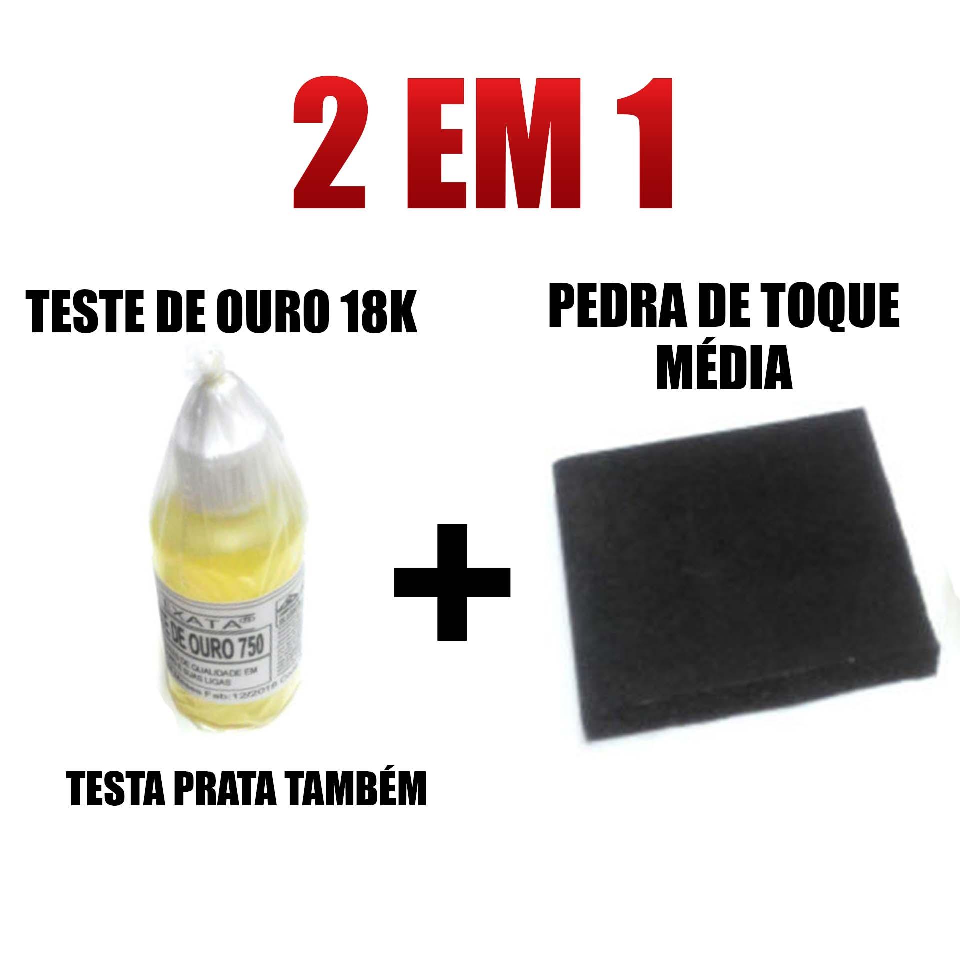 Kit Teste Ouro Prata - Pedra De Toque Média + Ácido 18k