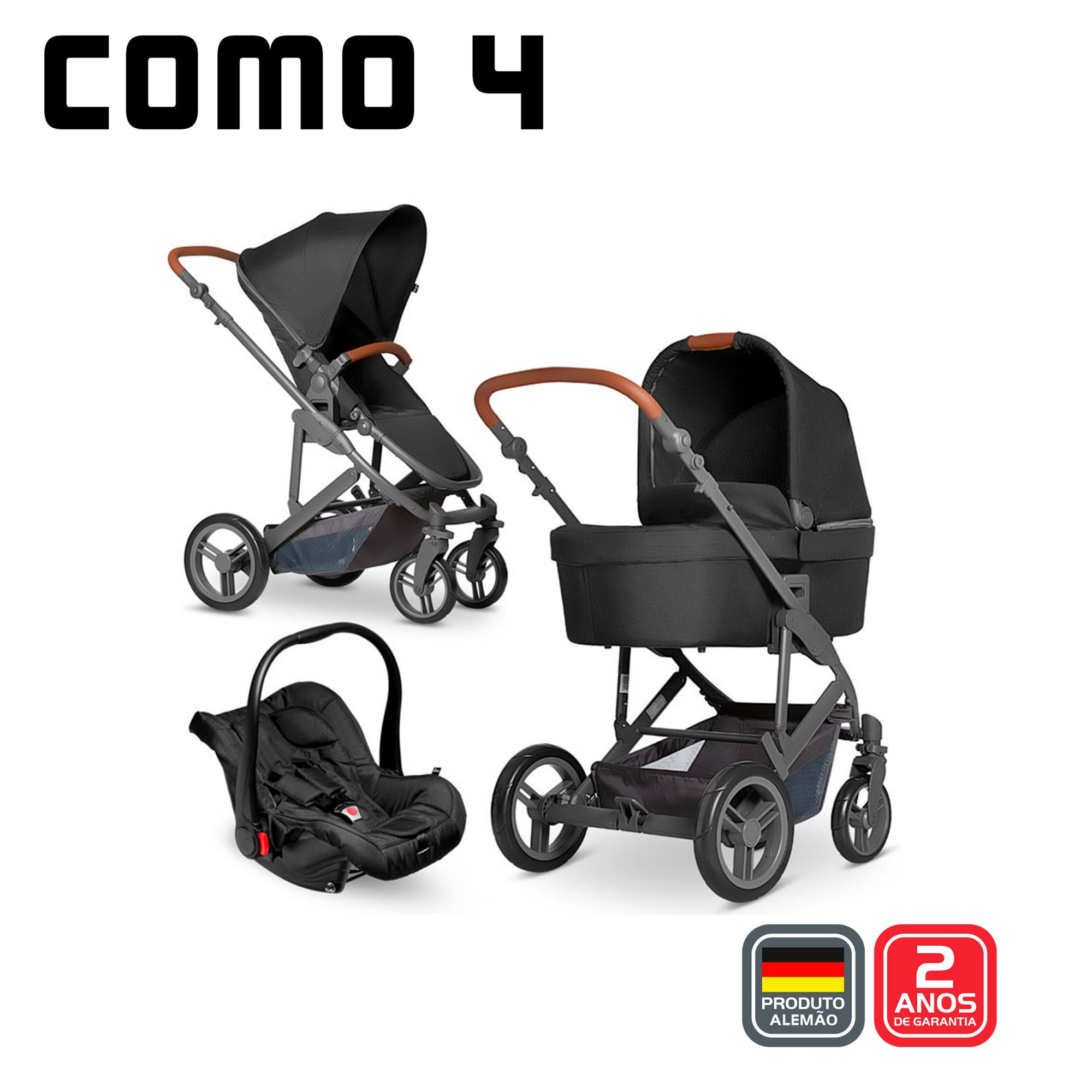 Carro Abc Trio Como 4 Couro (Carro/Moises/Bb /Adapt/ Bolsa) Woven Black