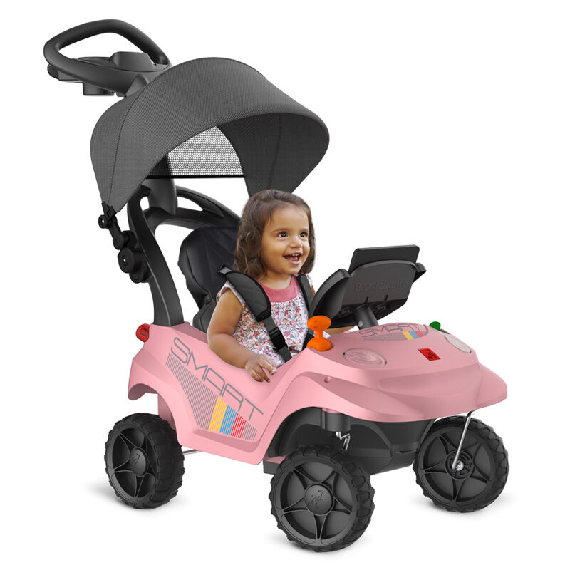CARRO SMART BABY COMFORT ROSA BANDEIRANTE