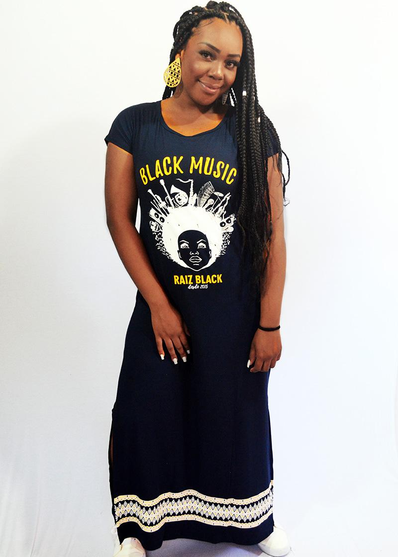 VESTIDO LONGO COM FENDA BLACK MUSIC