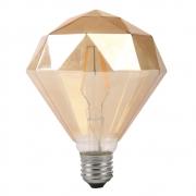 Lâmpada Decorativa Led Modelo Diamante D125 Vidro Ambar