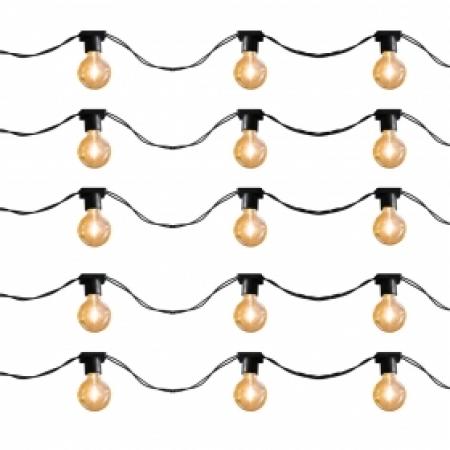 Varal de luz 50 metros - 50 soquetes E27 cordão cor Preto
