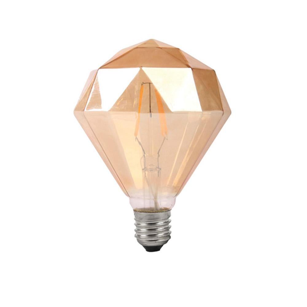 Lâmpada Decorativa Led Modelo Diamante D95 Vidro Ambar