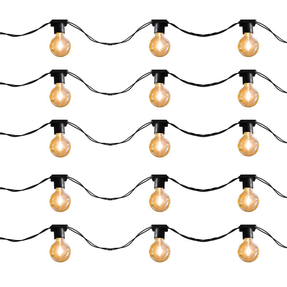 Varal de luz 10 metros - 20 soquetes E27 cordão cor Preto