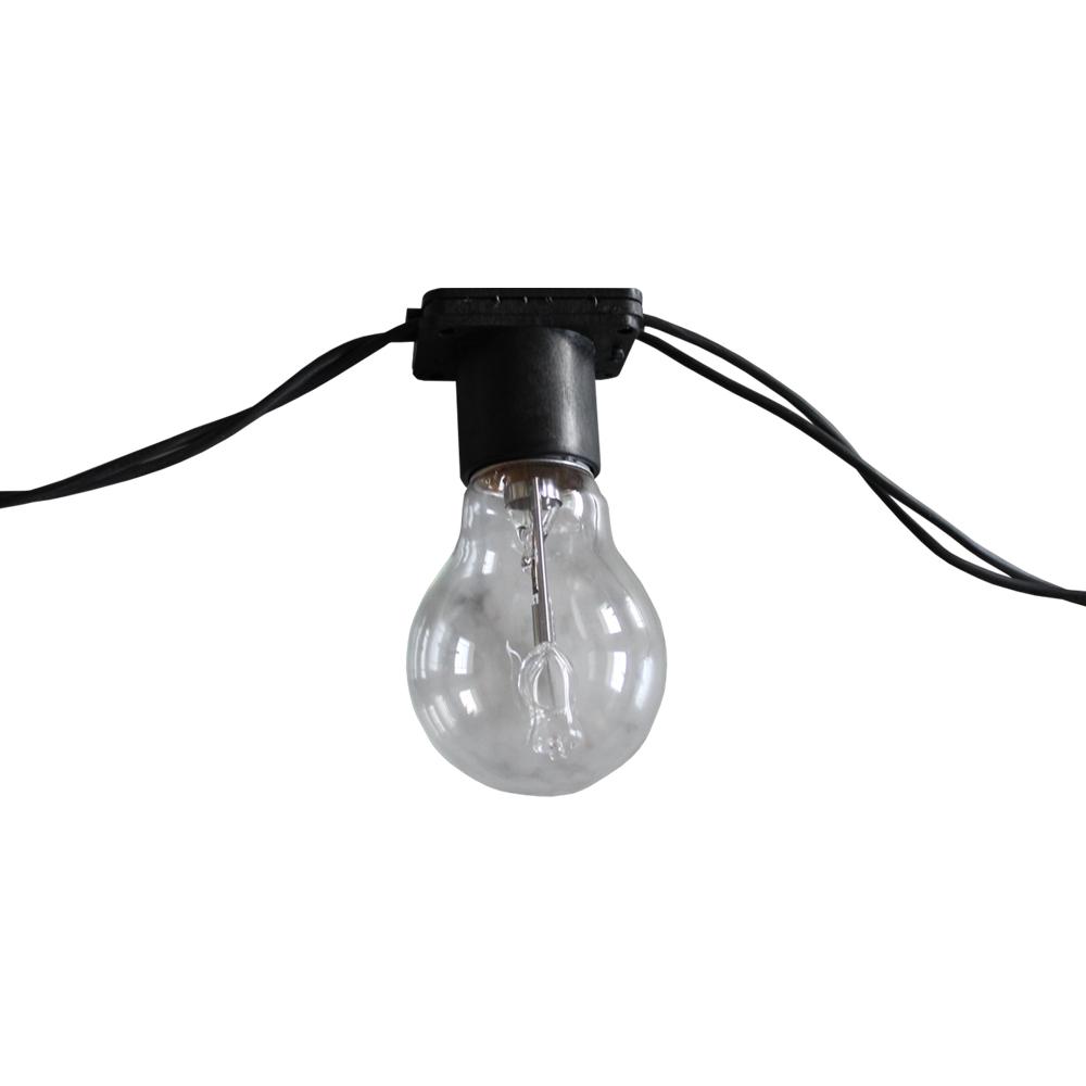 Varal de luz 20 metros - 20 soquetes E27 cordão cor Preto