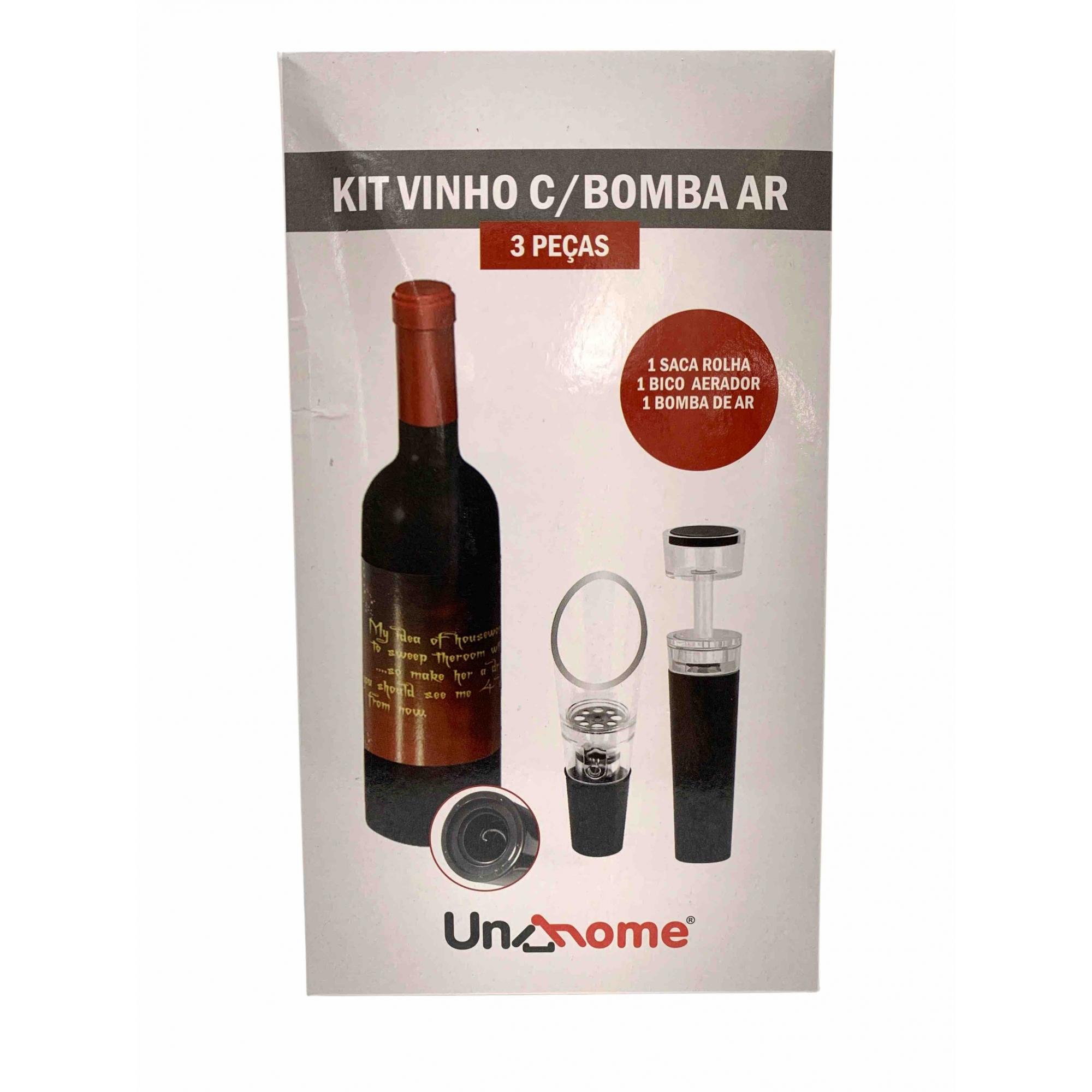 Kit Abridor de Vinho c/ Bomba Ar e Aerador - 3 Peças  - ADEGA FARRET