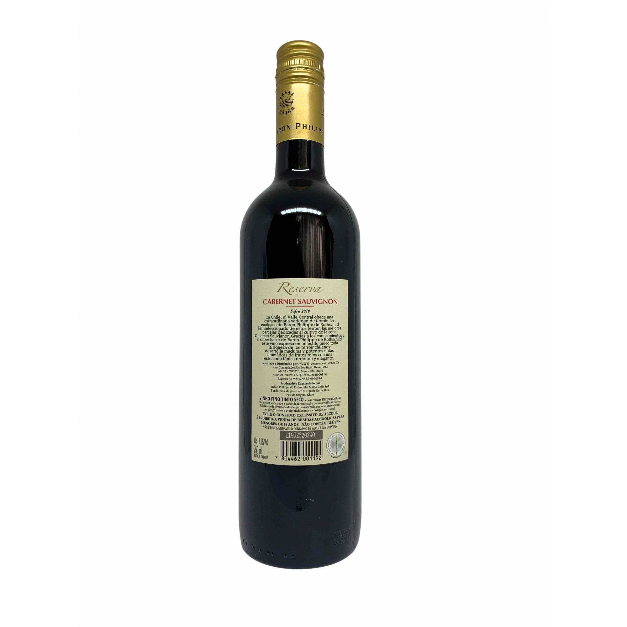 Vinho Tinto Baron Philippe de Rothschild Reserva Cabernet Sauvignon 750ml  - ADEGA FARRET