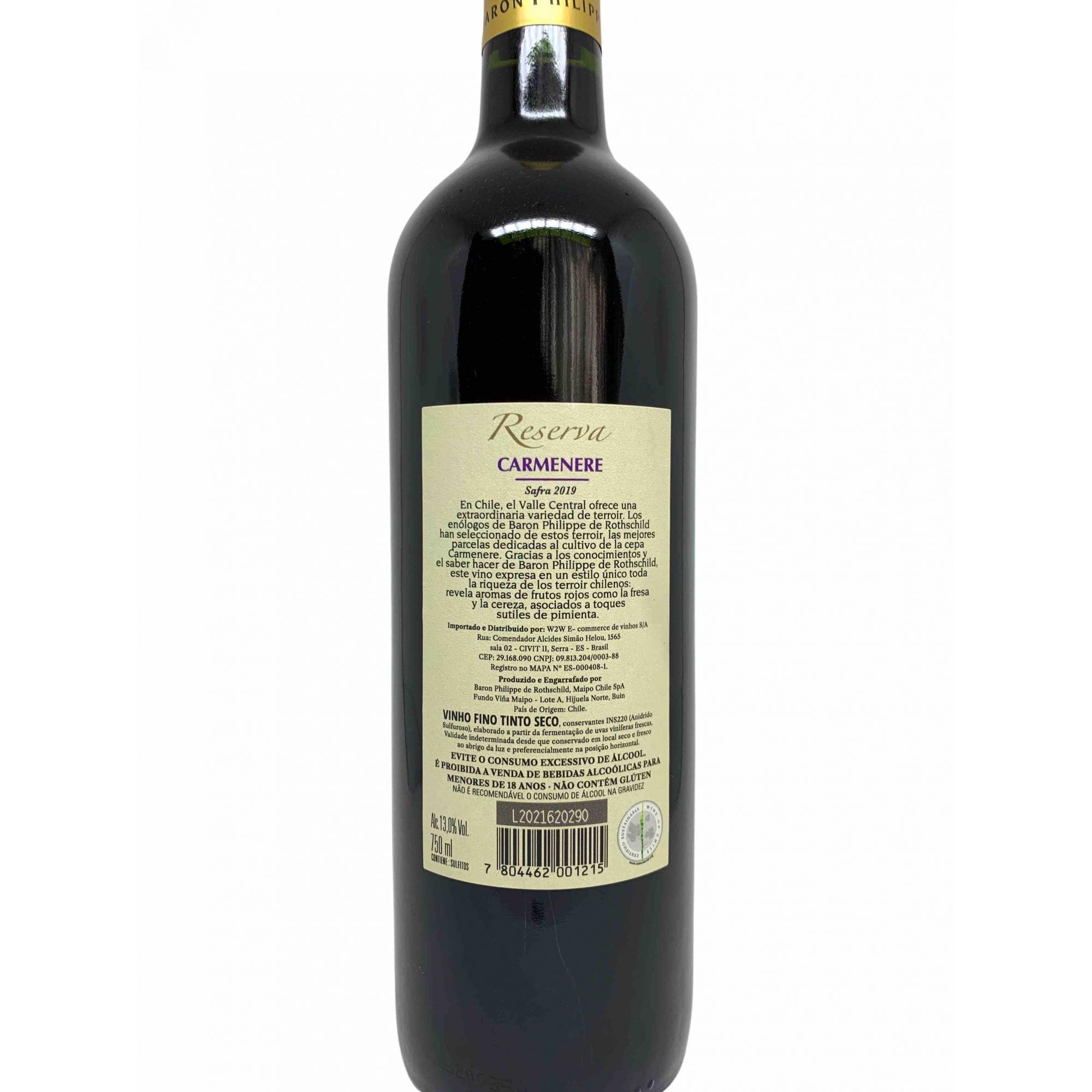 Vinho Tinto Baron Philippe de Rothschild Reserva Carmenere 750ml  - ADEGA FARRET