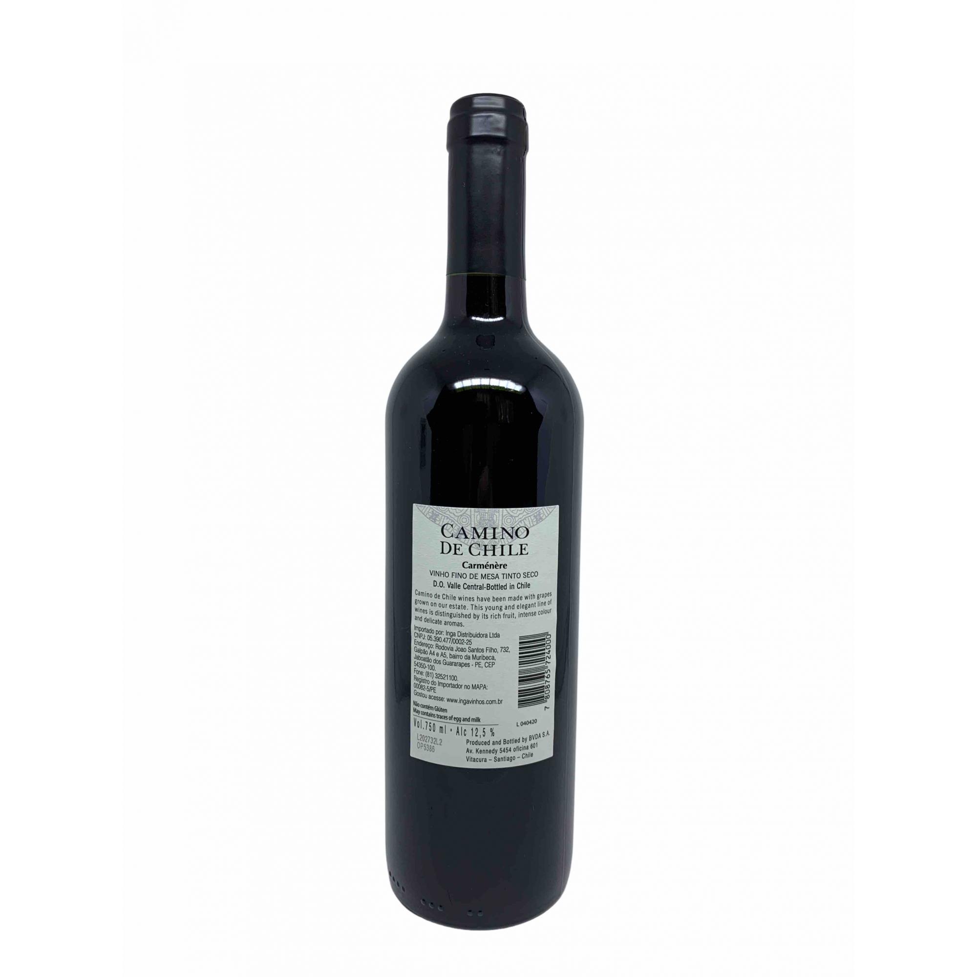 Vinho Tinto Camino de Chile Carmenere 750mL  - ADEGA FARRET