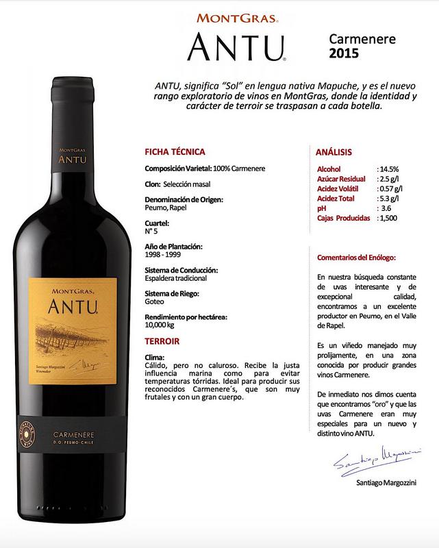 Vinho Tinto Carmenere Antu Ninquen Montgras 2015 750ML  - ADEGA FARRET