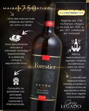 Vinho Tinto Forestier Cuvée 2015 750mL - Esgotado na Vinícola!  - ADEGA FARRET