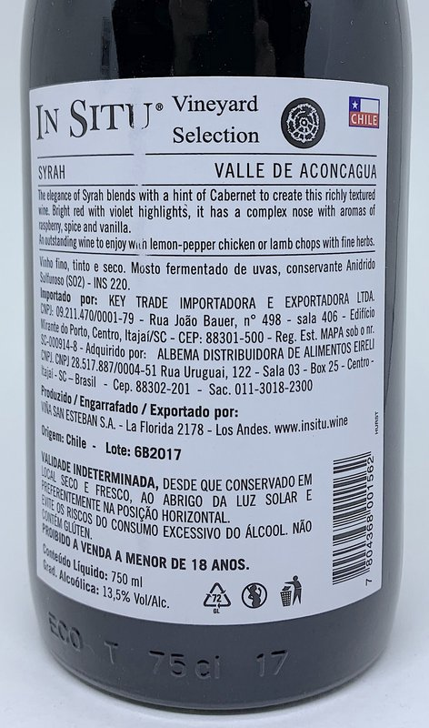 Vinho Tinto In Situ Reserva Syrah 750mL  - ADEGA FARRET