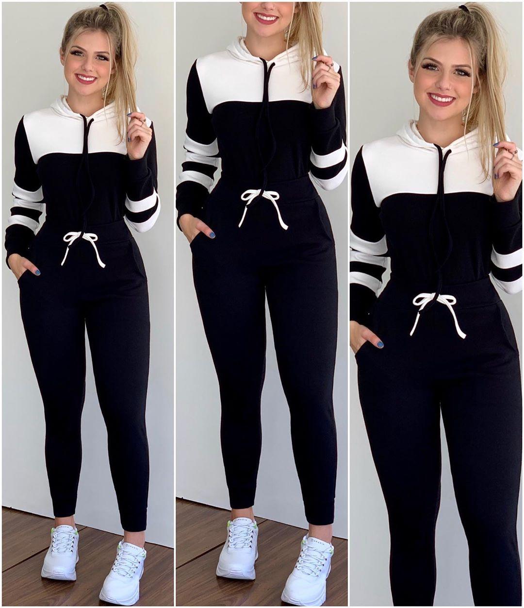 Conjunto Feminino Calça e Blusa Preto e Branco