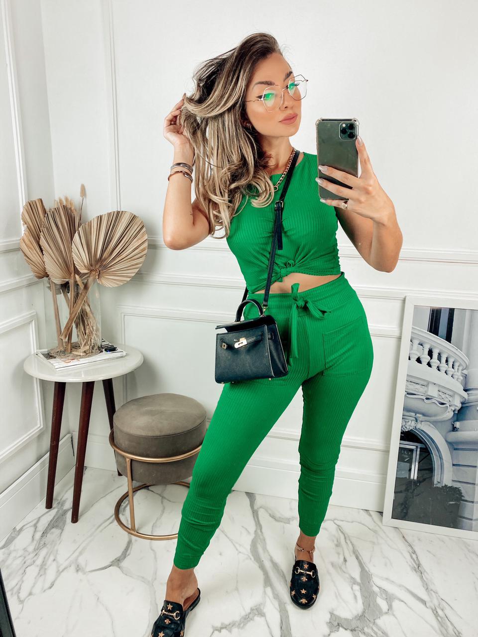 Conjunto Feminino Malha Canelada Verde