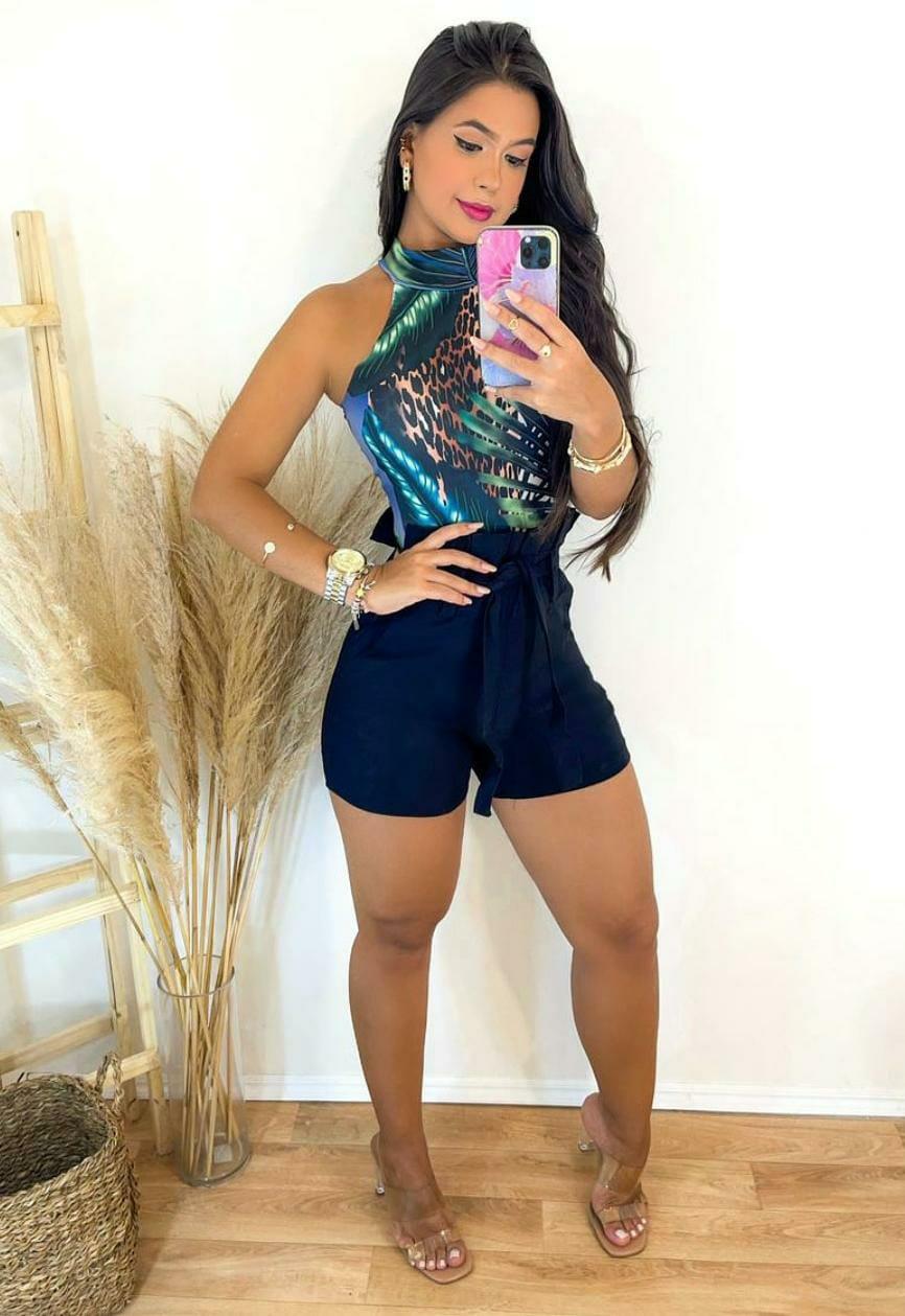 Conjunto Shorts Preto com Body Folhas