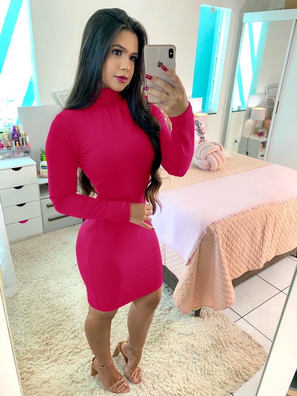 Vestido Canelado Manga Longa Pink
