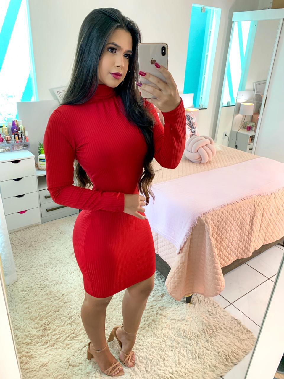 Vestido Canelado Manga Longa Vermelho
