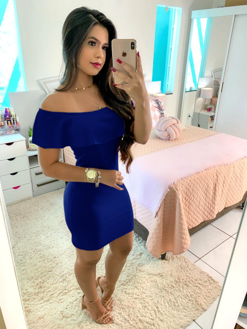 Vestido Ciganinha Curto Azul