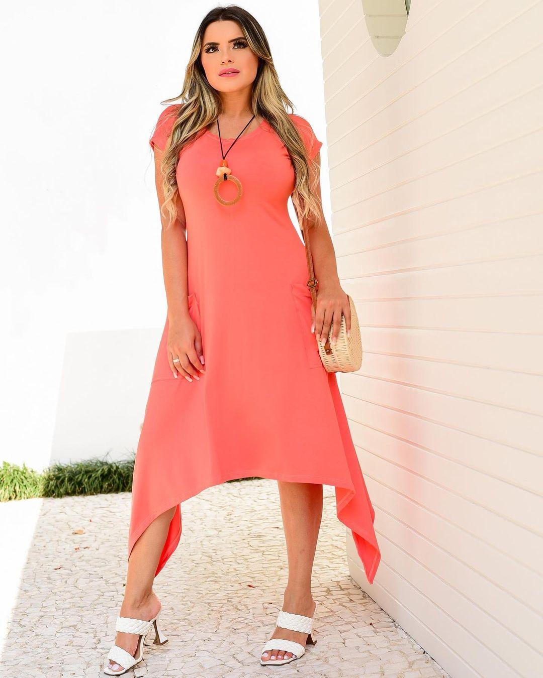 Vestido Coral com Bolso