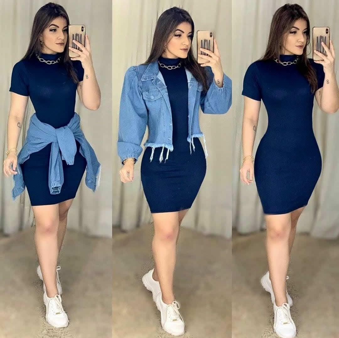 Vestido de Festa Curto Gola Azul